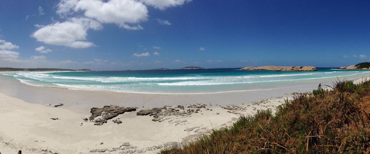 Panorama of Blue Haven Beach in Esperance WA.