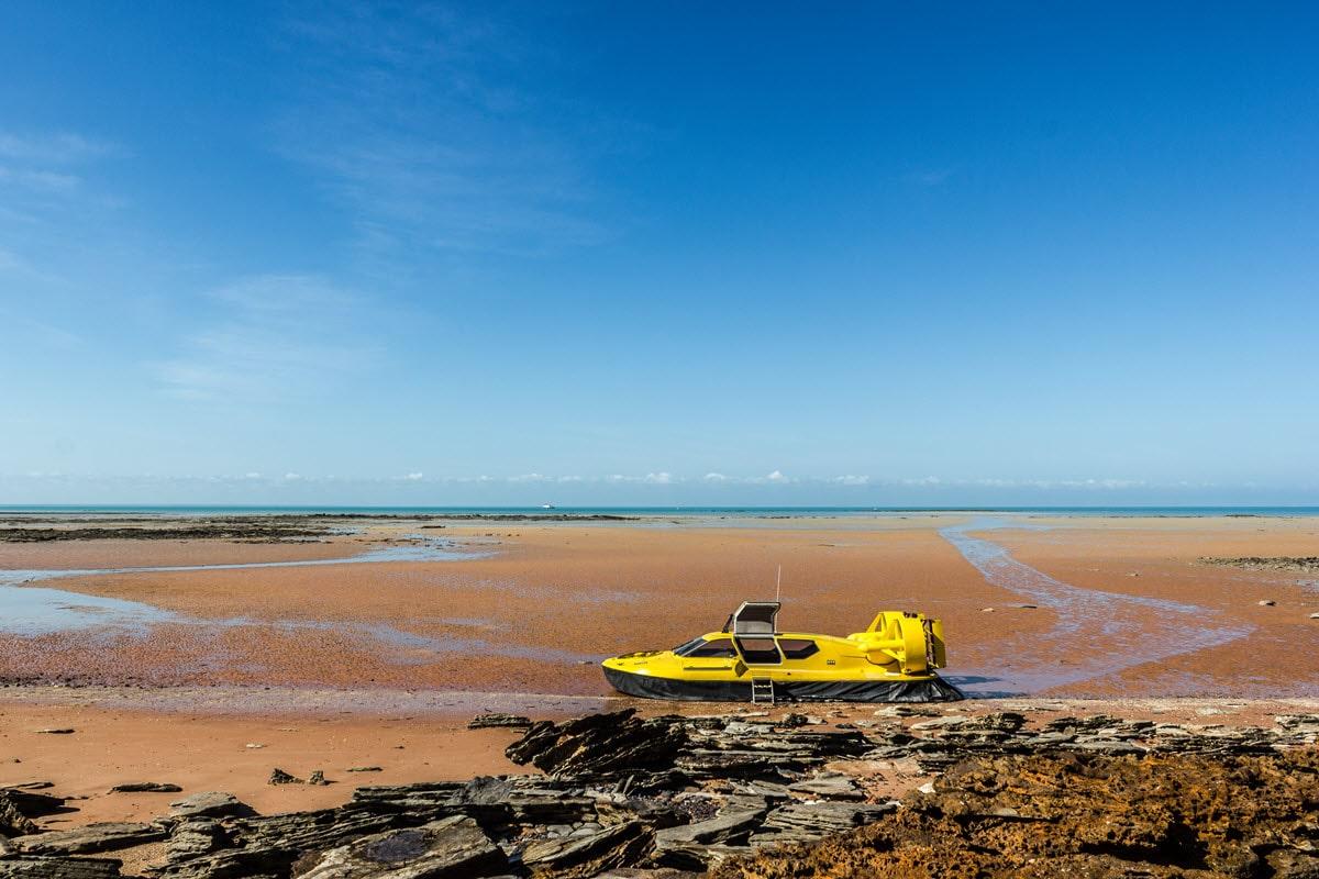 Hovercraft sitting near beach in Broome, Western Australia.