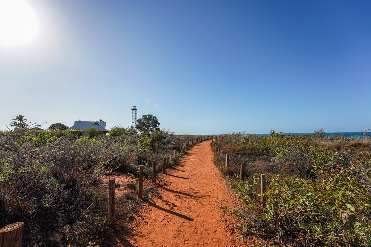Walking to Gantheaume Point on offroad track in Broome, Western Australia.