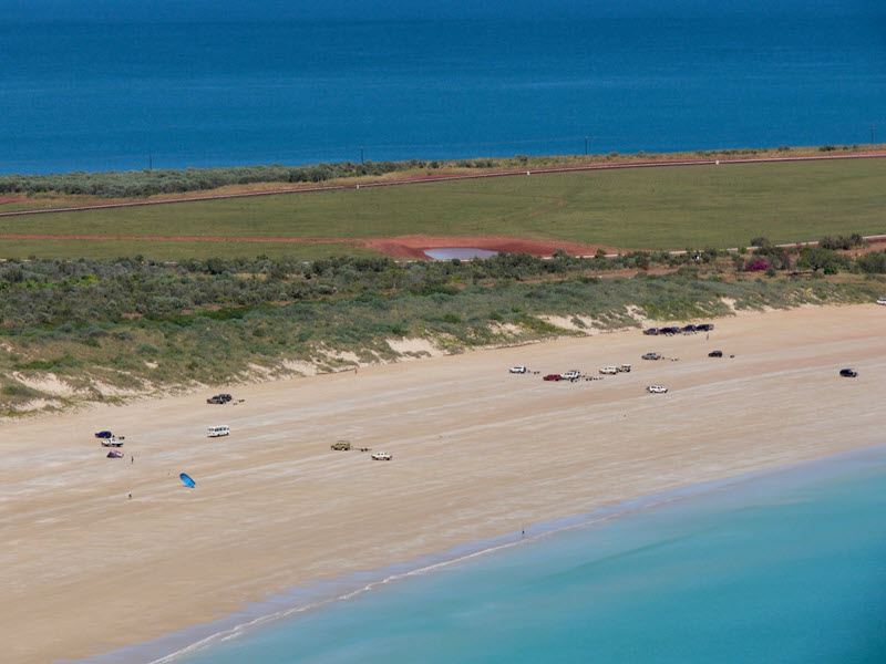 Aerial view of Broome beaches in Western Australia.