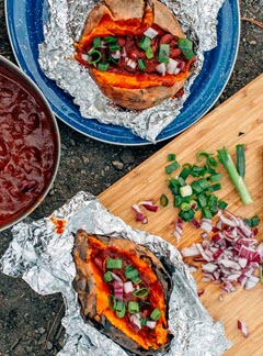 easy camping recipes - stuffed sweet potatoes wrapped in foil