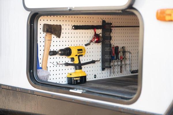 pegboard under caravan to store tools