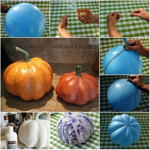 papier mache pumpkin quick and easy halloween arts and crafts