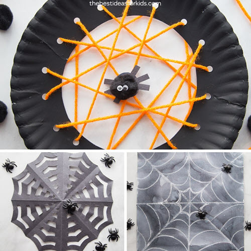 spider web lace art easy halloween crafts