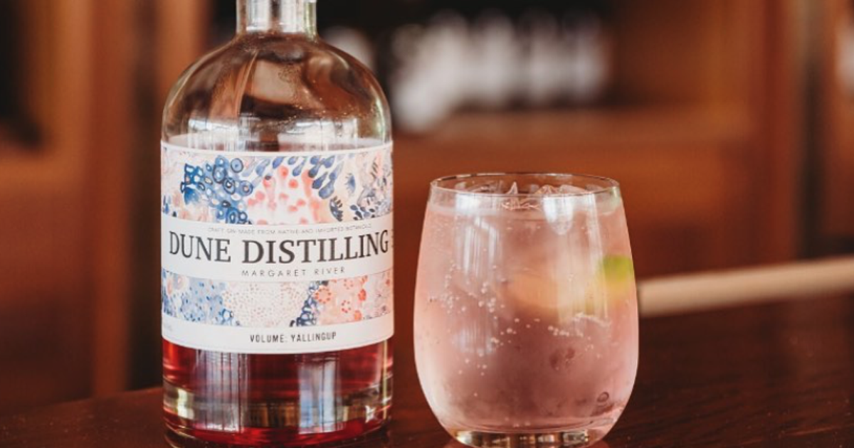 Cocktail made using bottle of Dune Distilling Co gin.