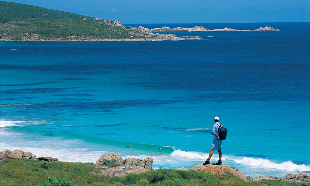 Man hiking past smiths beach on cape to cape track