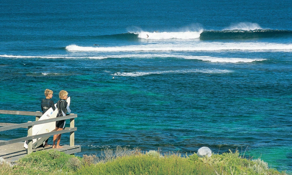 young surfers at surfers point, margaret river