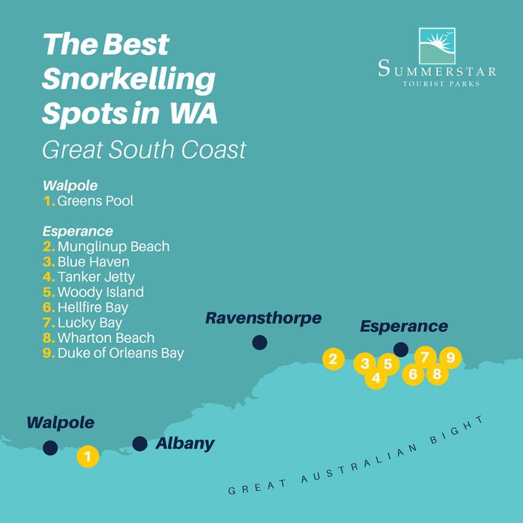The best snorkelling spots in WA: Great South Coast map.