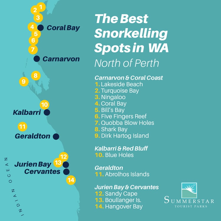 The best snorkelling spots in WA: North of Perth map.