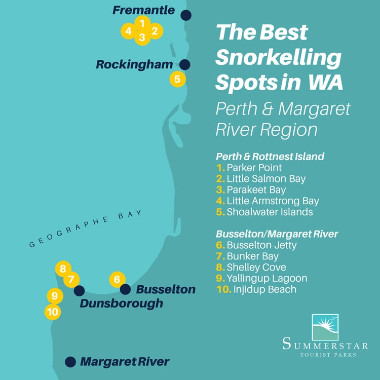 The best snorkelling spots in WA: Perth and Margaret River Region map.
