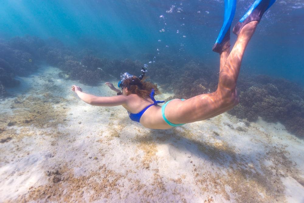 Diving deep at Turquoise Bay, Cape Range National Park, Western Australia.