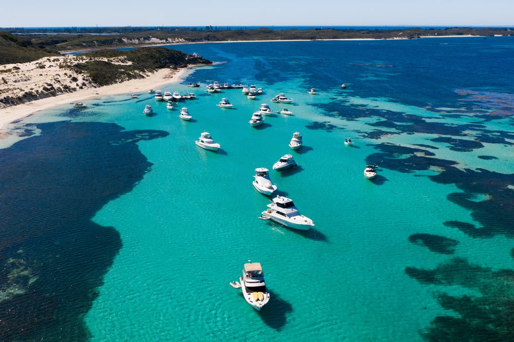 Mooring for a day of snorkelling at Parker Point, Rottnest Island.