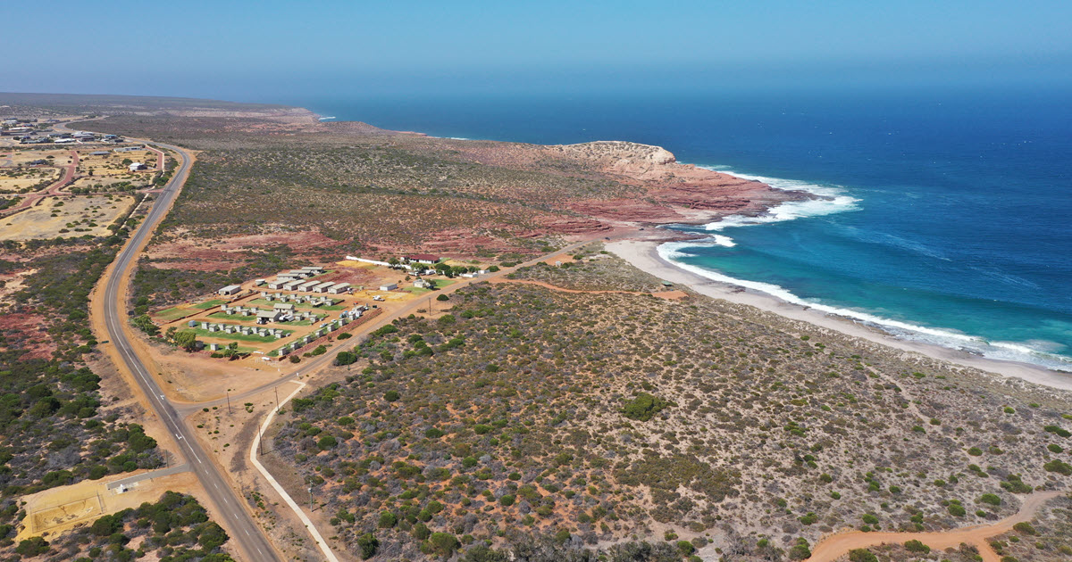 View of rugged coastline in Kalbarri from drone flying over Red Bluff Beach.