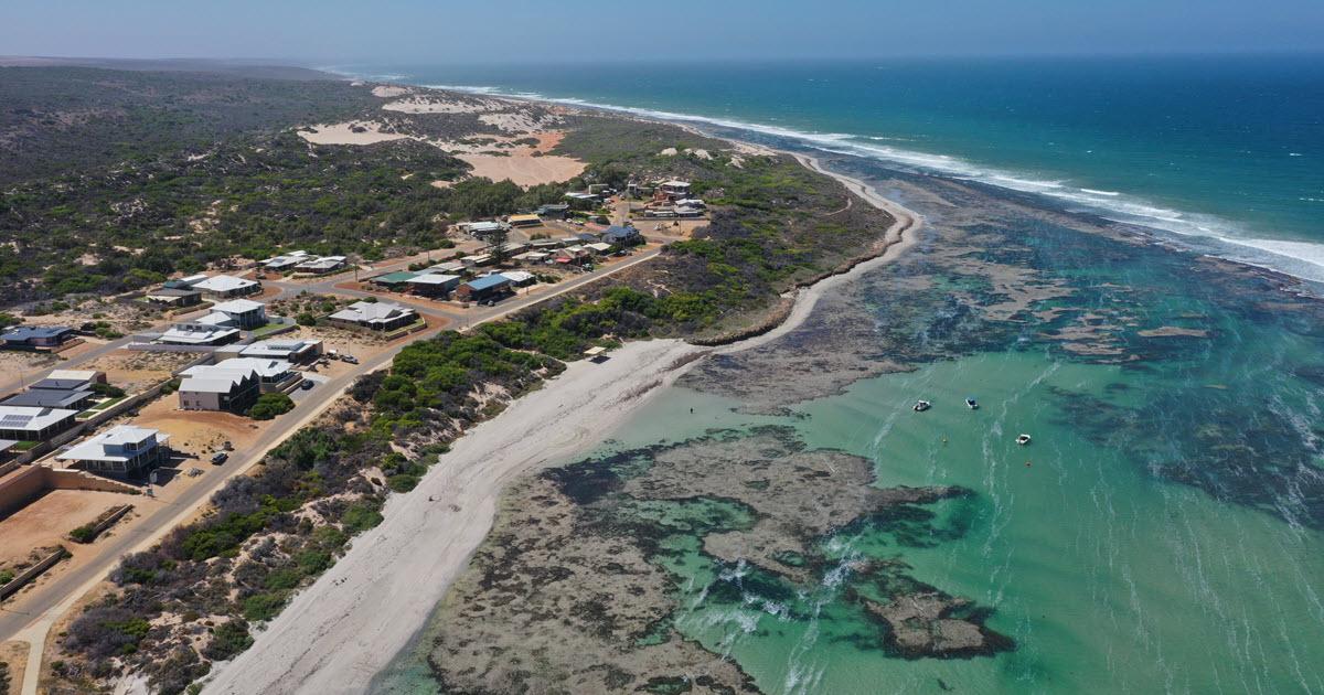 Coastal view from drone showcasing the beauty of Horrocks Beach.