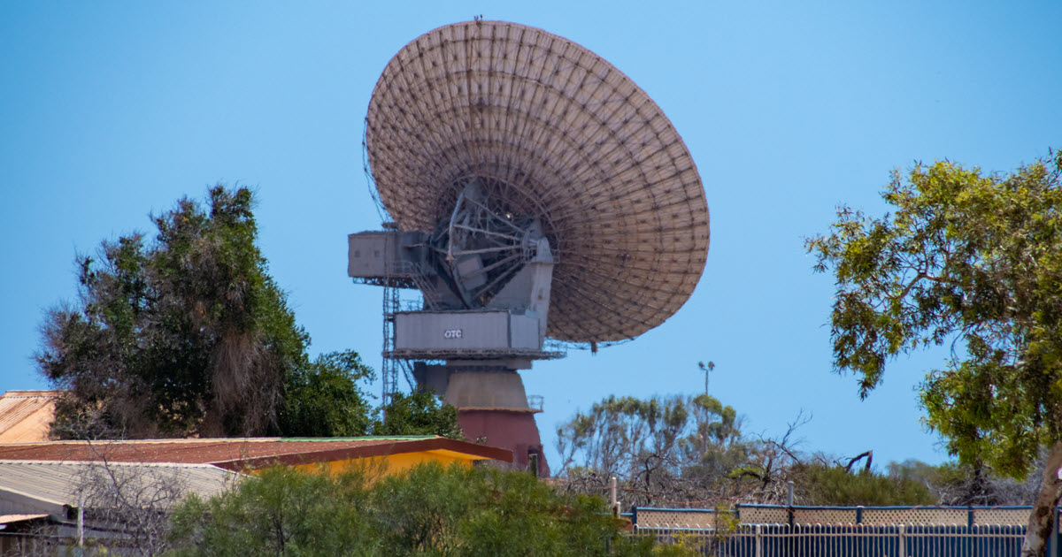 Satelite and surrounds at Carnarvon Space and Technology Museum, WA.
