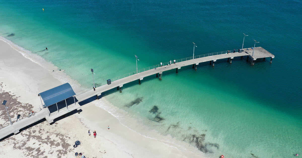 Aerial view off jetty in Jurien Bay.