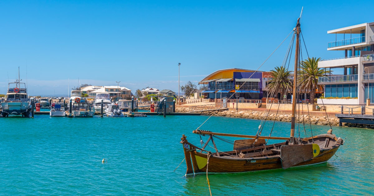 Marina view of houses and boats in Geraldton, WA.