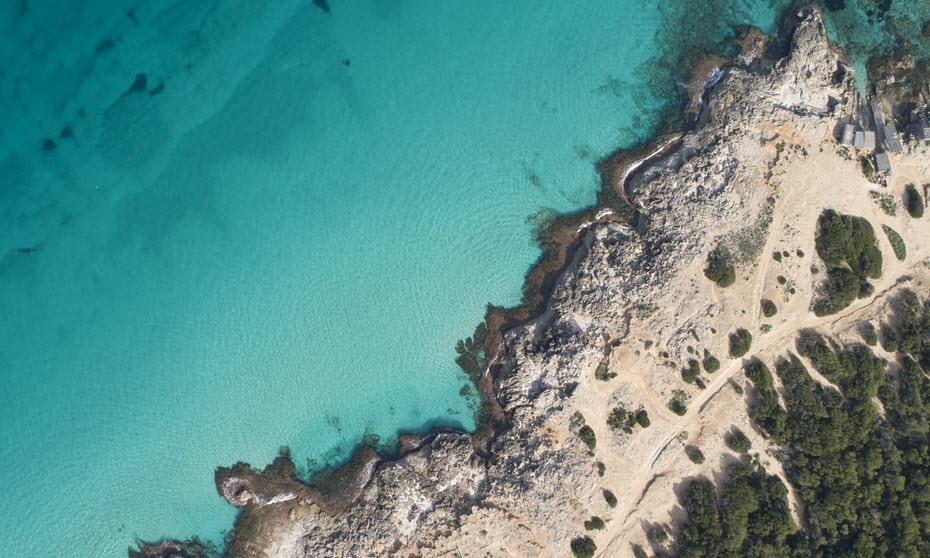 Drone shot over Nanga Peninsula beach in Shark Bay, Western Australia.