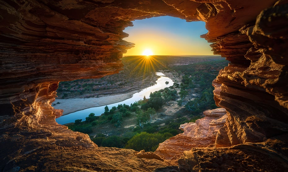 Sunset through Nature's Window at Kalbarri National Park near Shark Bay, WA.