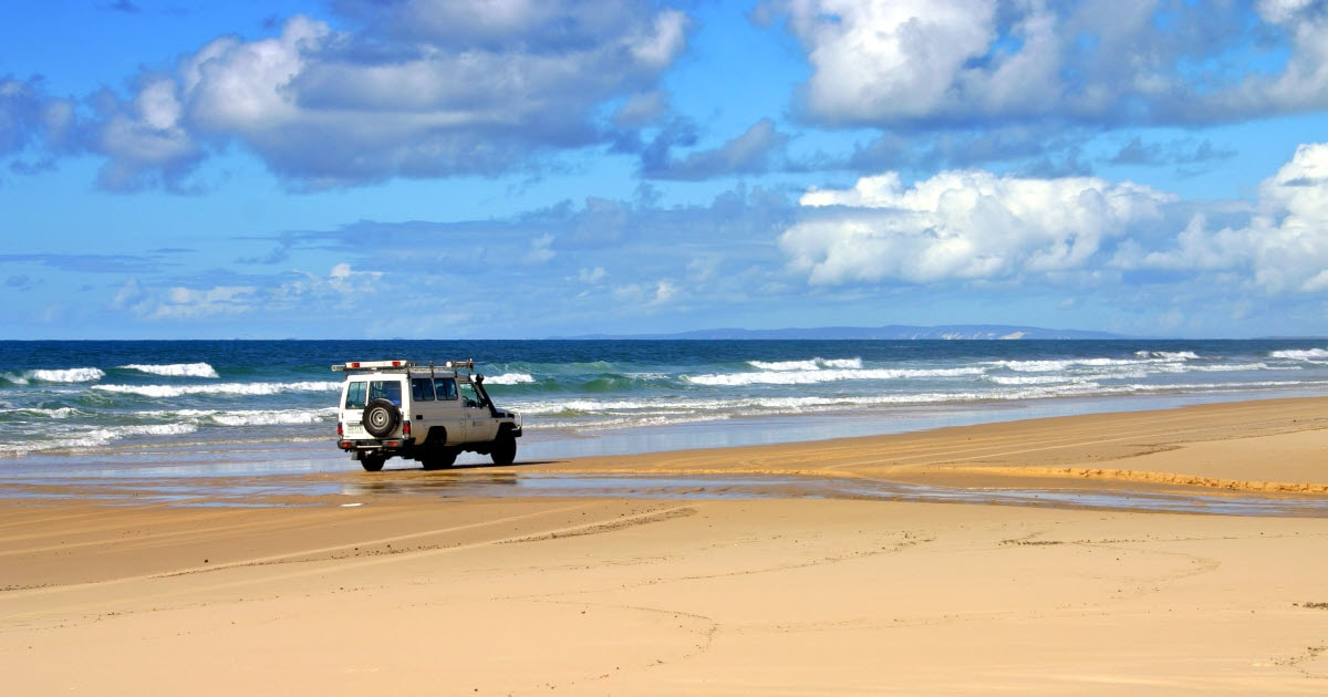 4WD travelling on beach to Little Bay in Horrocks, WA.