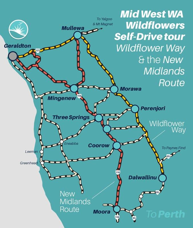 Mid West Western Australia Wildflowers Self-Drive Tour Map
